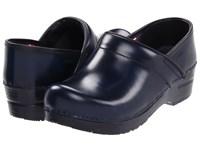 Sanita Professional Cabrio Blue Brush Off Leather Clog Shoes Navy