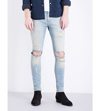 Represent Destroyer Skinny Stretch Denim Jeans Blue Cream