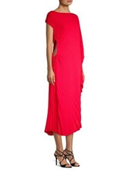 Delfi Collective Andi Pleated Asymmetric Dress Red