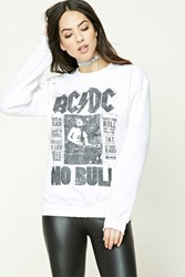 Forever 21 Acdc Fleece Band Sweatshirt White Black