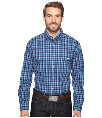 Roper 0558 Neat Check Button Purple Men's Clothing