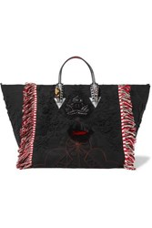 Christian Louboutin Portugaba Fringed Leather Trimmed Canvas Tote Black