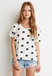 Forever 21 Tusked Elephant Print Tee Ivory Black