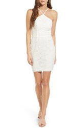 Speechless Women's Lace Halter Body Con Dress Off White