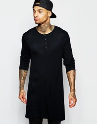 Asos Drapey Rib Super Longline Long Sleeve T Shirt With Grandad Neck Black
