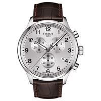 Tissot T1166171603700 'S Chrono Xl Classic Chronograph Date Leather Strap Watch Brown Silver