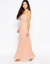 Lashes Of London Bandeau Dress In Chiffon Nude