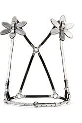Zana Bayne Lola Appliqued Metallic Leather Harness Silver