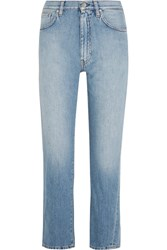 Toteme Original Cropped Mid Rise Slim Leg Jeans Light Denim