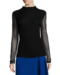Elie Tahari Maxina Merino Sweater W Sheer Sleeves Black