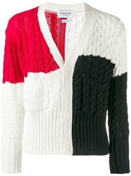 Thom Browne Colourblock Cable Knit Cardigan 60