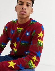 Another Influence Party Sprout Knitted Jumper Red