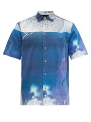 Paul Smith Photo Print Cotton Shirt Blue Multi