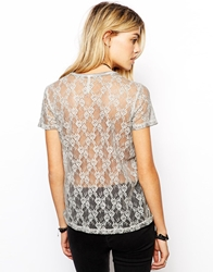 Pepe Jeans T Shirt With Lace Back Grey