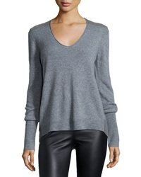 Halston Long Sleeve V Neck Cashmere Sweater Heather Gray