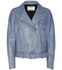 Acne Studios Mock Leather Jacket Blue