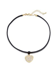 Design Lab Lord And Taylor Pave Heart Pendant Choker Necklace Multi