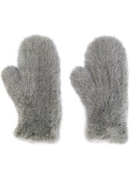 Yves Salomon Four Queues Gloves Mink Fur Grey