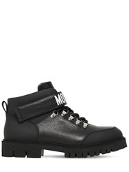 Moschino Leather Hiking Boots W Logo Detail Black
