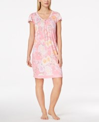 Miss Elaine Flutter Sleeve Knit Nightgown Pink Bouquets