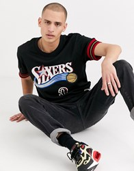 Mitchell And Ness Name Number Philadelphia 76Ers Allen Iverson Mesh Crew Neck In Black