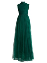 Rochas Open Back Ruched Tulle Gown Green