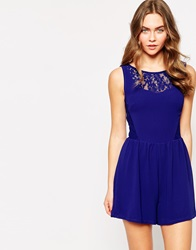 Wal G Playsuit With Lace Trim Blue