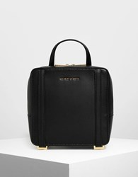 Charles And Keith Top Handle Square Backpack Black