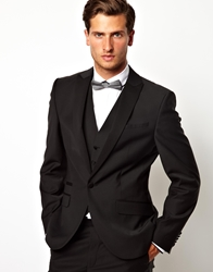 Red Eleven Slim Fit Tuxedo Jacket Black