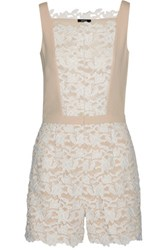 Raoul Jessenia Crepe Trimmed Guipure Lace Playsuit Off White