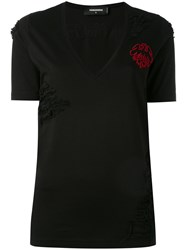 Dsquared2 Distressed 'Keep The Faith' Embroidered T Shirt Women Cotton Xs Black