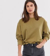 Weekday Oversized Cropped Sweatshirt In Khaki Green