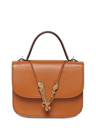 Versace Smooth Leather Top Handle Bag Caramel