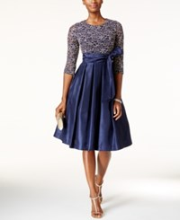 Jessica Howard Sequined Lace A Line Dress Navy