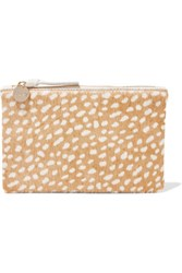 Clare V. V Supreme Leather Trimmed Printed Calf Hair Clutch Tan
