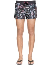 Diesel Neon Printed Nylon Swim Shorts