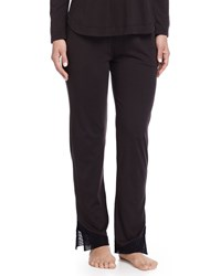 Skin Cotton Lounge Pants With Tulle Trim Black