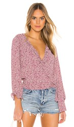1.State 1. State Wildflower Ditsy Ruffle Edge Wrap Top In Purple. Plumber