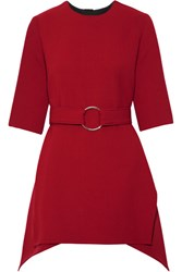 Marni Asymmetric Belted Wool Crepe Top Claret