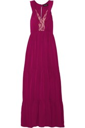 Saloni Suzi Ruffle And Lace Trimmed Crinkled Gauze Maxi Dress Plum