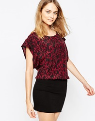 Ganni Leopard Print Dress With Black Bottom Red