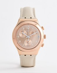Swatch Ycg416 Irony Chronograph Leather Watch In Tan 40Mm