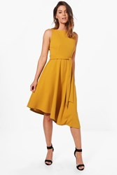 Boohoo Asymetric Formail Midi Skater Dress Chartreuse
