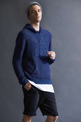 Bdg Marled Pullover Hooded Sweatshirt Navy