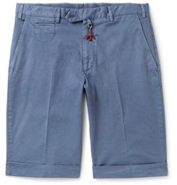 Isaia Stretch Cotton Twill Shorts Blue