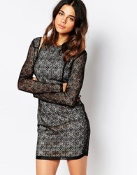 Daisy Street Lace Dress With Cut Out Shoulder Black