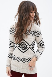 Forever 21 Southwestern Pattern Crew Neck Sweater Taupe Black