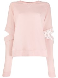 Karl Lagerfeld Cut Out Logo Sleeve Sweatshirt Pink