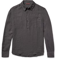 Barena Half Placket Linen Shirt Gray