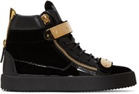 Giuseppe Zanotti Black Velvet London High Top Sneakers